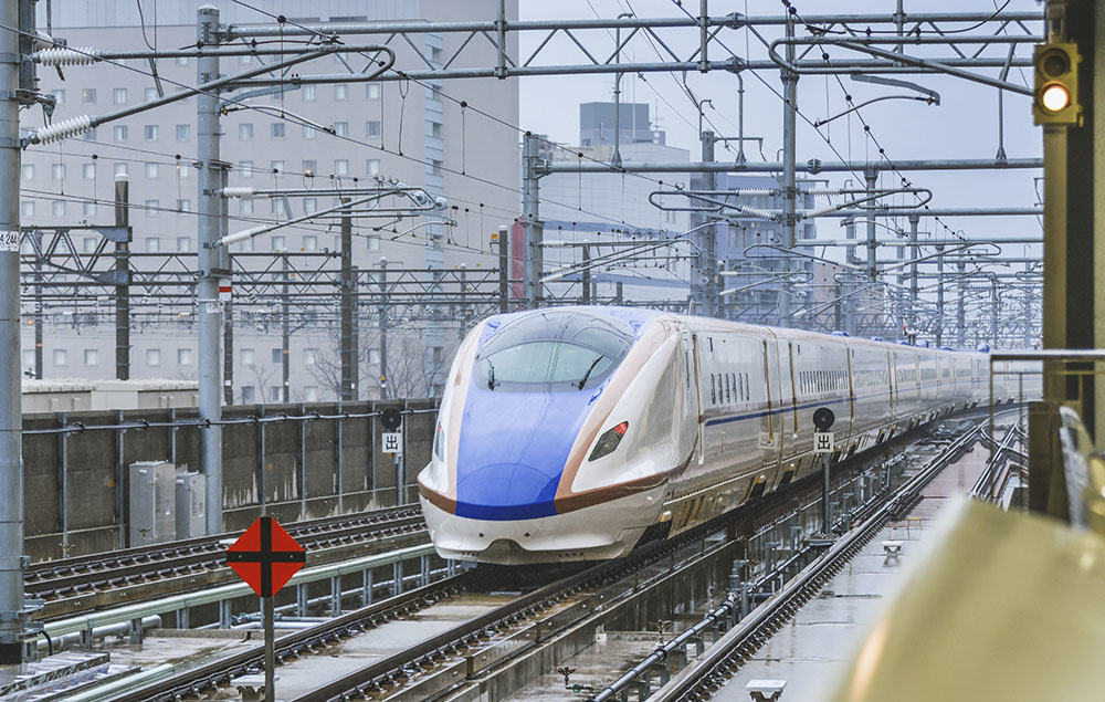 Kanazawa, Japan - April 1, 2015: The Shinkansen bullet train network of high-speed railway lines in Japan